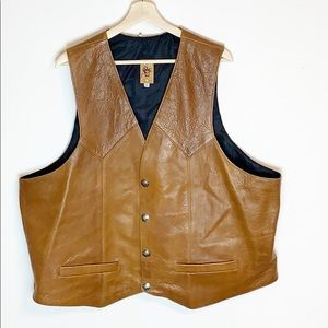 Tribe America Leather Western Vest Snap Front